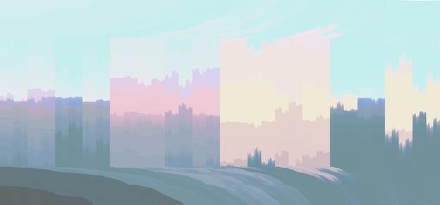Abstrakter hintergrund mit bunten vertikalen pinselstrichen, die stadtlandschaft darstellen