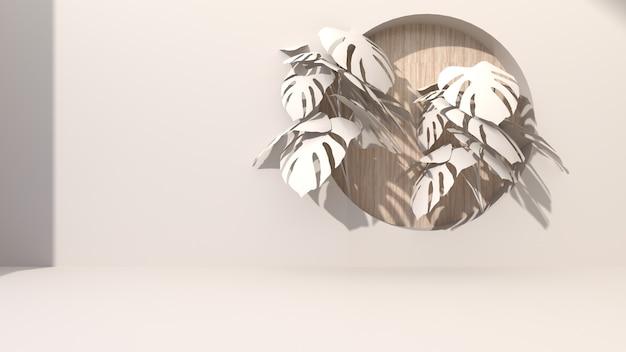 Abstrakter hintergrund mit cremefarbenen geometrischen formen bohren loch, das runden hölzernen hintergrund setzt. mit monsterblättern dekorieren. für gegenwärtige kosmetische produkte. 3d-rendering