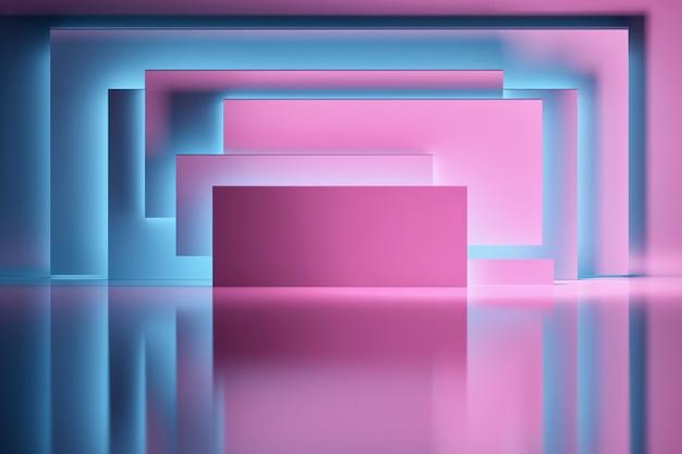 Abstrakter hintergrund mit den rosa platten oder rechteckformen belichtet durch blaulicht über glänzender reflektierender oberfläche. raum mit geometrischen grundformen.