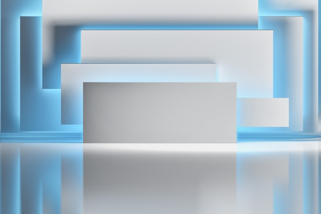 Abstrakter hintergrund mit den weißbuchblättern oder rechteckformen belichtet durch blaulicht über glänzender reflektierender oberfläche. raum mit geometrischen grundformen.