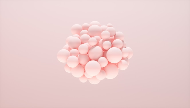 Abstrakter hintergrund mit dynamischen kugeln auf rosa hintergrund