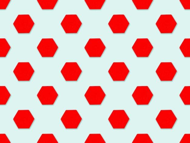 Abstrakter hintergrund mit geometrischen figuren des roten sechsecks in pastellfarben. minimalistische geometrie-abstraktes muster-design.