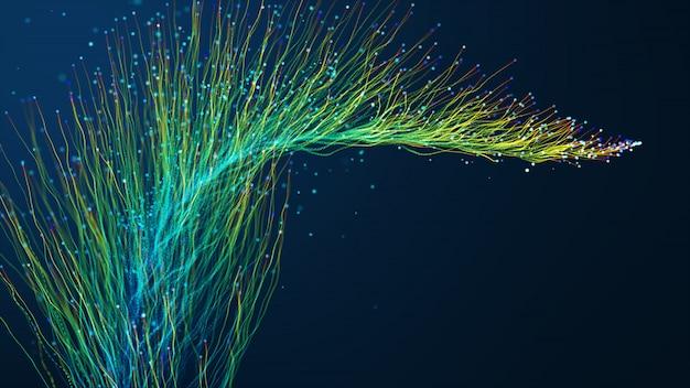 Abstrakter hintergrund mit glühenden partikeln der animation, die sich von linien für glasfaserkabel bewegen, breitete sich über den rahmen aus.