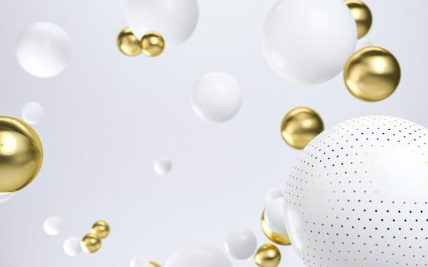 Abstrakter hintergrund mit goldenen und weißen blasen. realistischer 3d-hintergrund. 3d-rendering