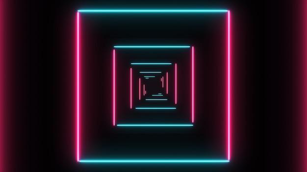 Abstrakter hintergrund mit neonquadraten mit den hellen linien, die sich schnell bewegen.