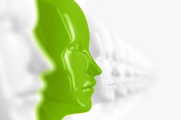 Abstrakter hintergrund mit vielen identischen weißen, unscharfen weiblichen puppengesichtern, von denen eines im fokus und in grüner 3d-illustration hervorgehoben ist
