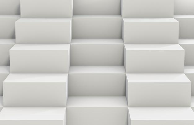 Abstrakter hintergrund mit weißem kasten des würfels 3d. 3d render