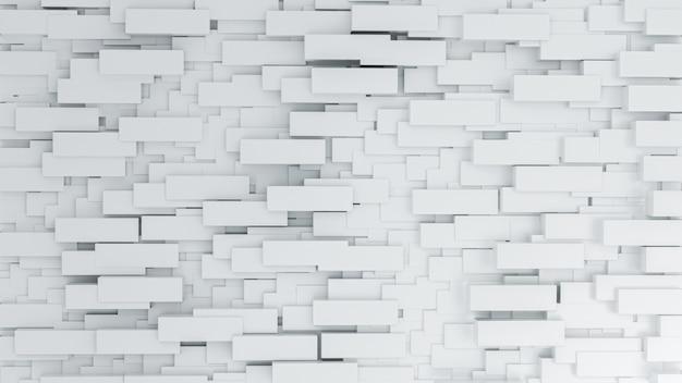Abstrakter hintergrund mit weißen ziegelsteinen n der wand. 3d-darstellung