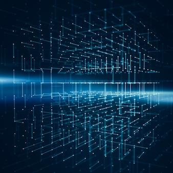 Abstrakter hintergrund mit wireframe des transparenzwürfels