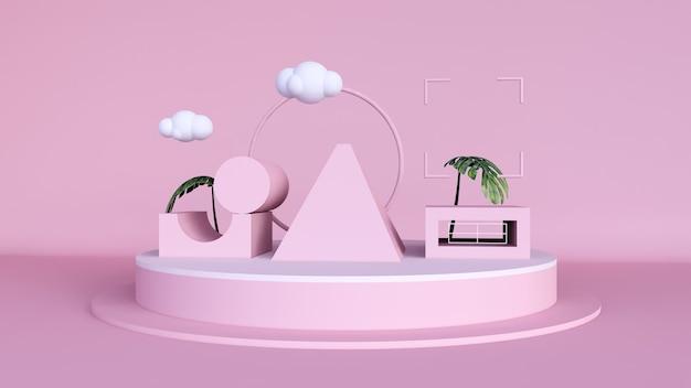 Abstrakter hintergrund, mock-up-szene mit podium für produktanzeige. rosa pastell 3d rendering