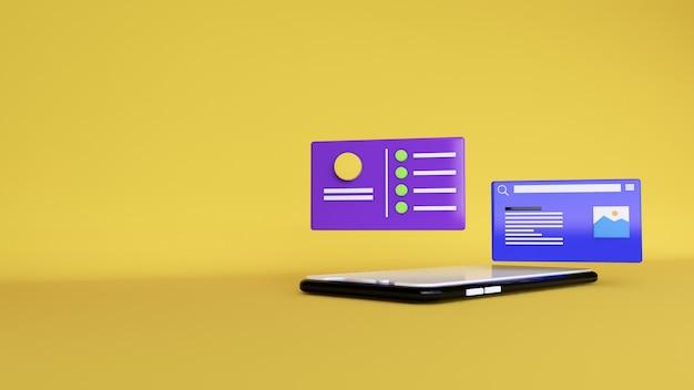 Abstrakter hintergrund, mock-up-szene-telefonanwendung mit chat-bereich, für web. 3d-rendering