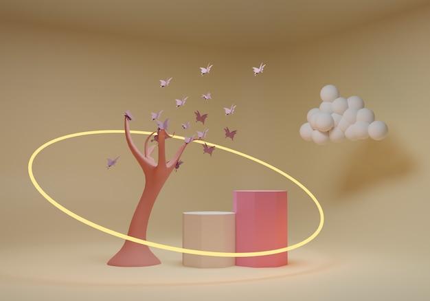 Abstrakter hintergrund, modellszene mit podium für produktanzeige. 3d-rendering.