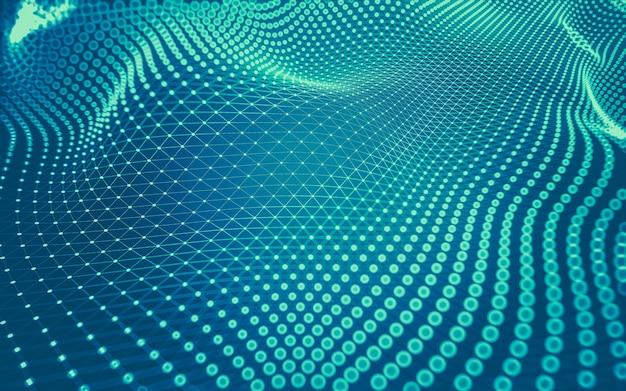 Abstrakter hintergrund. molekültechnologie mit polygonalen formen, big-data-visualisierung.