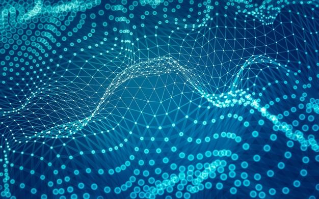 Abstrakter hintergrund. molekültechnologie mit polygonalen formen, die punkte und linien verbinden. verbindungsstruktur. big data visualisierung.