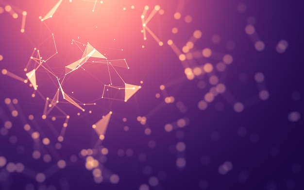 Abstrakter hintergrund. molekültechnologie mit polygonalen formen, die punkte und linien verbinden.