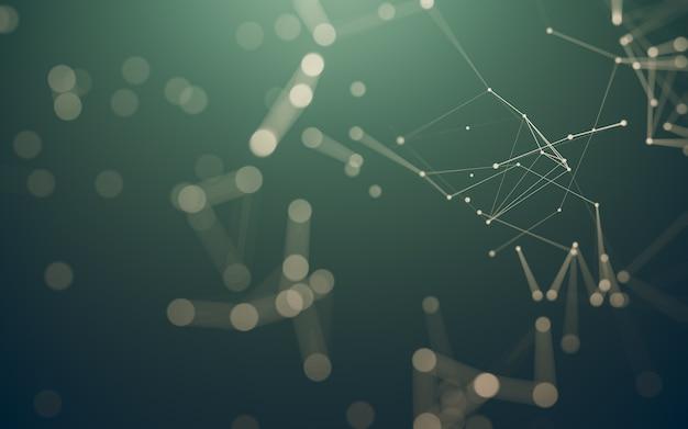 Abstrakter hintergrund. molekültechnologie mit polygonalen formen, verbindenden punkten und linien. verbindungsstruktur. big-data-visualisierung.