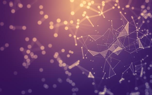 Abstrakter hintergrund. molekulartechnologie mit polygonalen formen, die punkte und linien verbinden. verbindungsstruktur. big data visualisierung.
