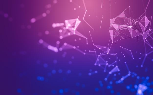 Abstrakter hintergrund. molekulartechnologie mit polygonalen formen, die punkte und linien verbinden.