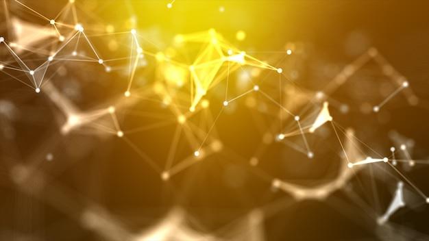 Abstrakter hintergrund punkt- und verbindungslinie für futuristisches und netzwerkverbindungskonzept der cyber-technologie mit dunklem und körnigem breitbildverhältnis