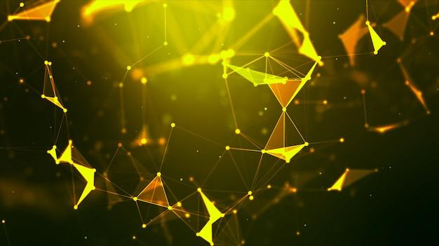 Abstrakter hintergrund punktieren sie und schließen sie linie für futuristisches und network connection konzept der cybertechnologie mit dunkelheit und korn verarbeitetem breitbildverhältnis an