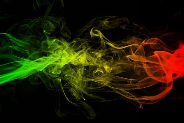 Abstrakter hintergrund rauch kurven und wellen reggae farben
