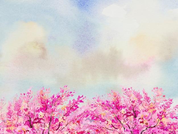 Abstrakter hintergrund, rosa blumen. buntes natürliches aquarellmalereiillustration der wilden himalaya-kirsche mit kopienraum