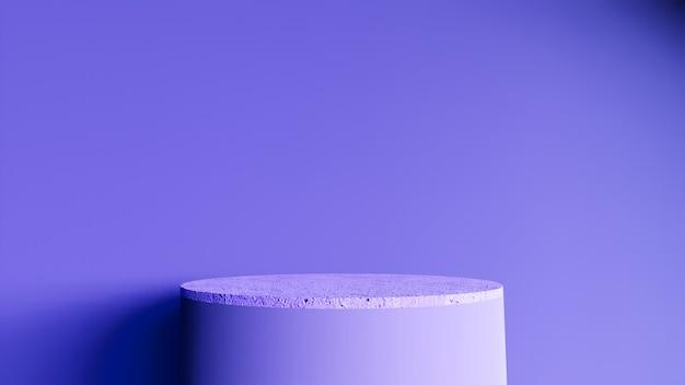 Abstrakter hintergrund, szene für produktanzeige. 3d marmorpodest in einem dunklen rauminnenraum