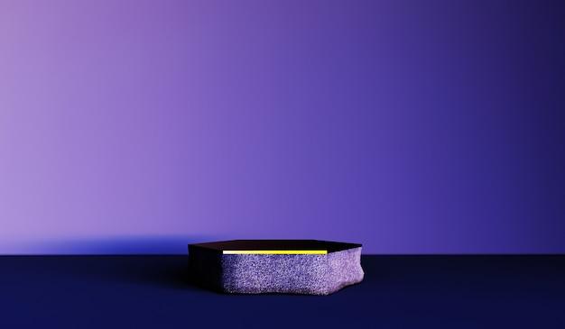 Abstrakter hintergrund, szene für produktanzeige. 3d stein und goldpodest in einem dunklen rauminnenraum
