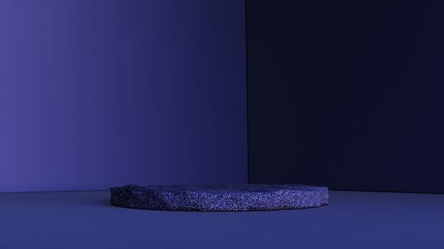 Abstrakter hintergrund, szene für produktanzeige. 3d steinpodest in einem dunklen rauminnenraum