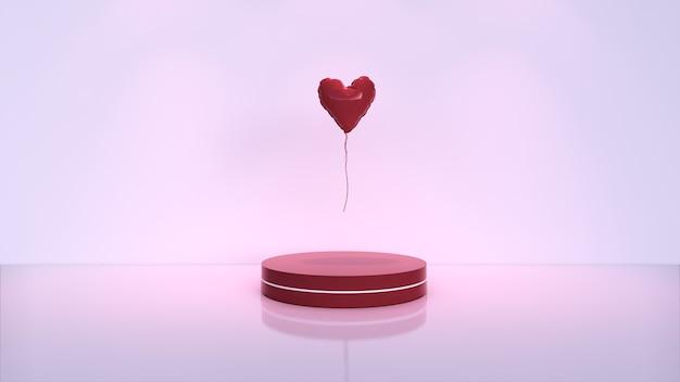 Abstrakter hintergrund, szene für produktanzeige. liebesballon, valentinstag