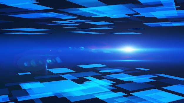 Abstrakter hintergrund von blauen quadraten. 3d-rendering.