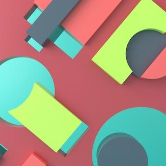Abstrakter hintergrund von geometrischen formen. 3d-rendering.