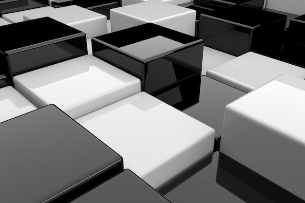 Abstrakter hintergrund von schwarzweiss-würfeln. 3d-rendering.