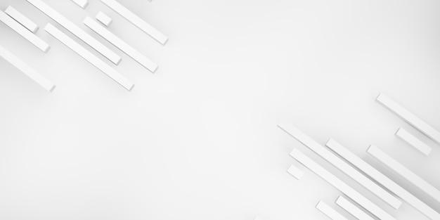 Abstrakter hintergrund weiße matte quadratische balken auf 3d-illustration des weißen hintergrunds