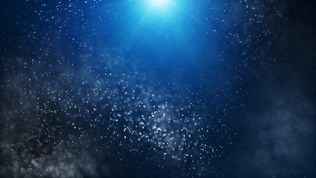 Abstrakter hintergrundlichtstrahlstrahleffekt der dunkelblau- und glühpartikel.