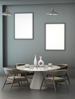 Abstrakter innenraum 3d des cafés mit einem granitrundtisch.