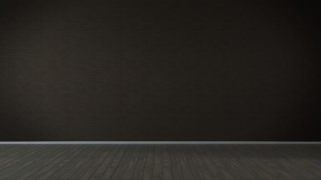 Abstrakter innenraum des leeren raumes mit brauner wand und holzboden. 3d-rendering.