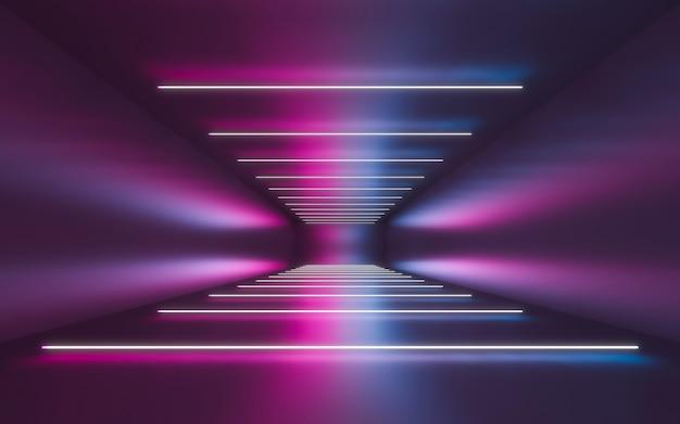 Abstrakter innenraum für backgrtound mit blauem und violettem neon