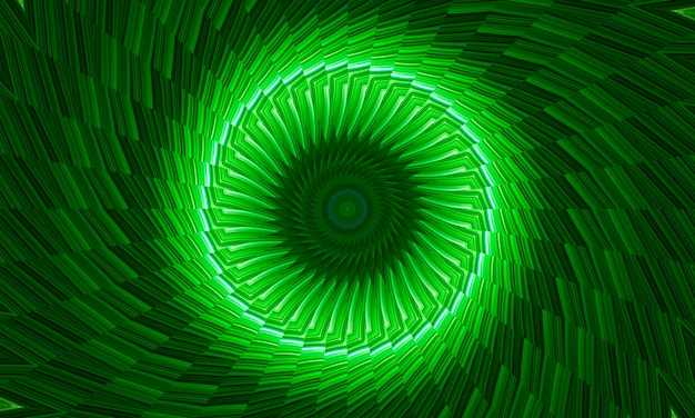 Abstrakter kaleidoskophintergrund aus kreisen in hellgrünen farbtönen. digitales kunstbild im psychedelischen meditativen stil. elegante ausdrucksstarke textur mit textileffekt. dekoratives und ökologisches konzept.