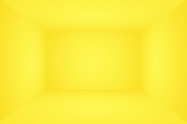 Abstrakter körper des leuchtenden gelben gradientenstudio-wandraumhintergrunds. 3d raum.