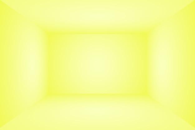 Abstrakter körper des leuchtenden gelben steigungsstudiowandraumhintergrundes. 3d-raum.