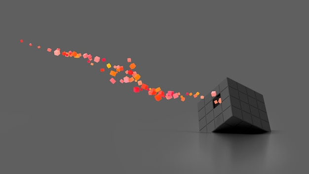 Abstrakter kreativer moderner dunkler 3d-hintergrund ein dreidimensionaler würfel, der auf seiner seite liegt und kleine würfelpartikel explodiert, die aus ihm herausfliegen. 3d-darstellung.