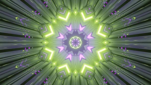 Abstrakter kunsthintergrund 4k uhd 3d-darstellung mit symmetrischer kreisförmiger geometrischer verzierung, die in bunten neonlichtern leuchtet, die einen perspektivischen effekt des endlosen tunnels erzeugen