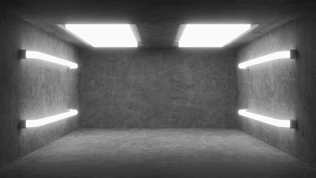 Abstrakter leerer betonraum mit weißer lampe
