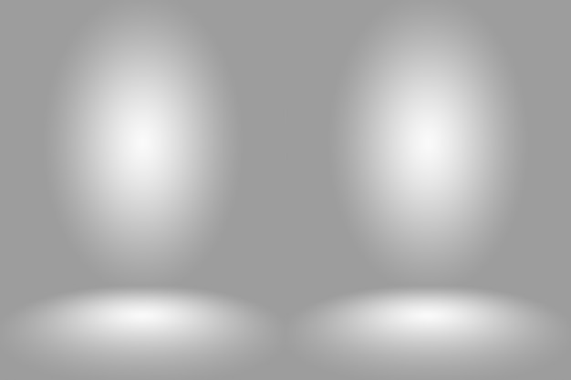 Abstrakter leerer dunkelweißer grauer farbverlauf mit schwarzer solider vignette-beleuchtung studiowand und bodenhintergrund gut als hintergrund verwenden.