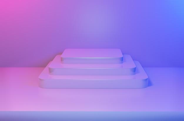 Abstrakter leerer quadratischer sockel im lebendigen blauen rosa licht