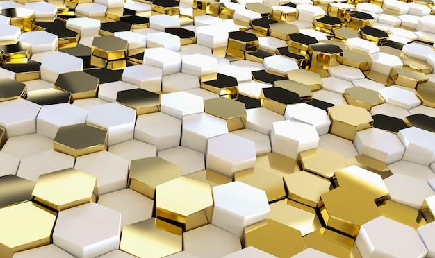 Abstrakter luxus mit goldenen sechsecken.