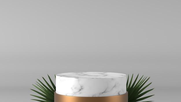 Abstrakter luxuszylinder des weißen zylinders marmor und goldener sockel und grünes blatt im weißen hintergrund.