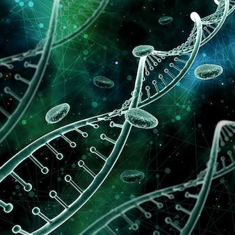 Abstrakter medizinischer Hintergrund 3D mit DNA-Strängen auf einem niedrigen Polyhintergrund