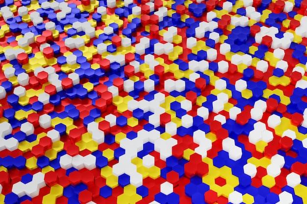 Abstrakter mehrfarbiger roter blauer gelber und weißer sechseckhintergrund